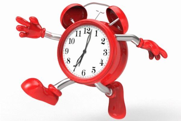 красный будильник бежит