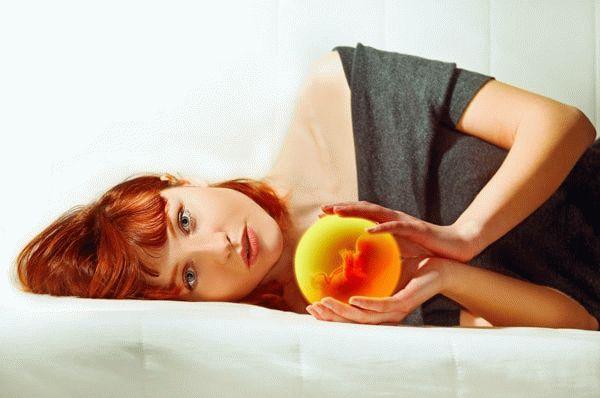 Девушка держит в руках эмбрион